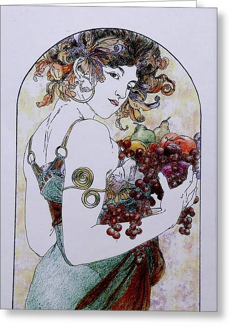 Abundance After Mucha Greeting Card by Tony Ruggiero