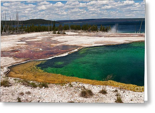 Greeting Card featuring the photograph Abyss Pool And Yellowstone Lake by Sue Smith