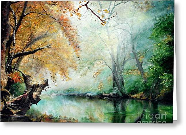 Greeting Card featuring the painting Abyss by Sorin Apostolescu