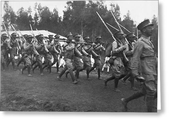 Abyssinian Troops Marching Greeting Card by Underwood Archives