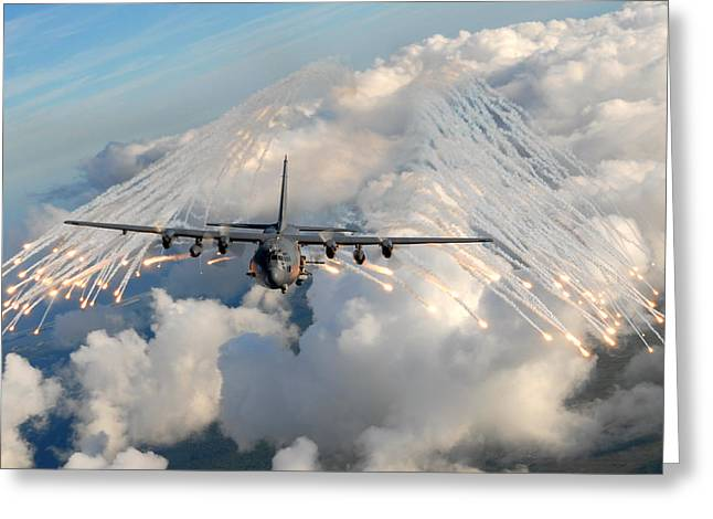 Ac-130h-u Gunship Aircraft Greeting Card by Celestial Images