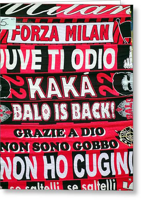 Ac Milan Fans Scarves  Greeting Card by Valentino Visentini