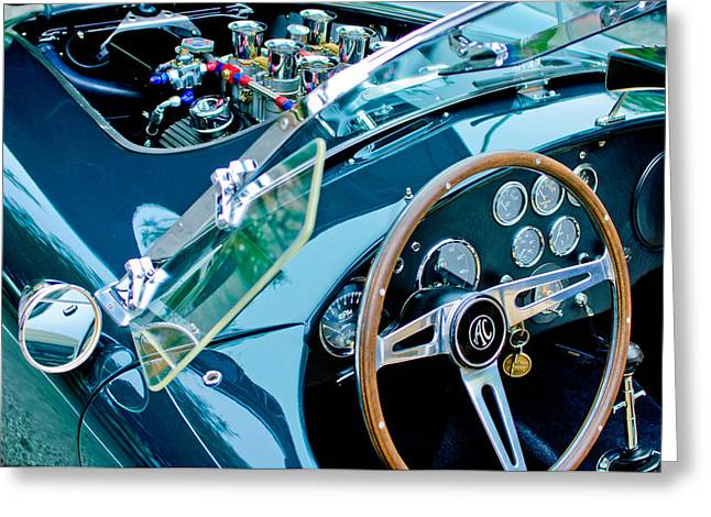 Ac Shelby Cobra Engine - Steering Wheel Greeting Card by Jill Reger