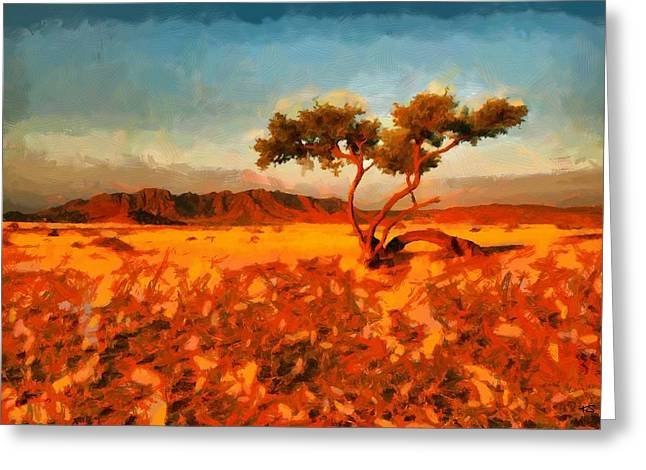 Greeting Card featuring the digital art Acacia Tree In Namibia by Kai Saarto