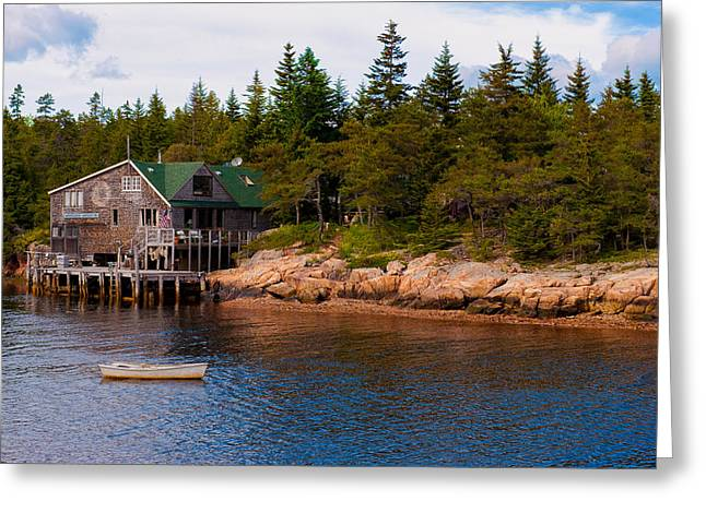 Acadia Fishing Village Greeting Card