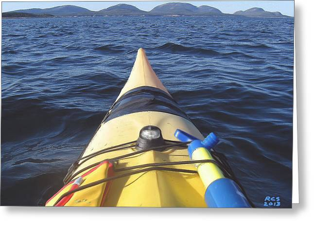 Acadia Sea Kayaking Greeting Card by Richard Stevens