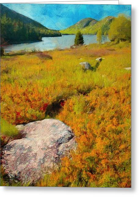 Greeting Card featuring the painting Acadia Spring by Jeff Kolker