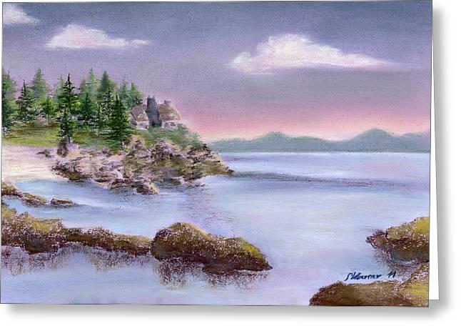 Acadia Sunrise Schooner Head Greeting Card by Stephanie Woerner