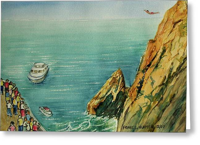 Acapulco Cliff Diver Greeting Card