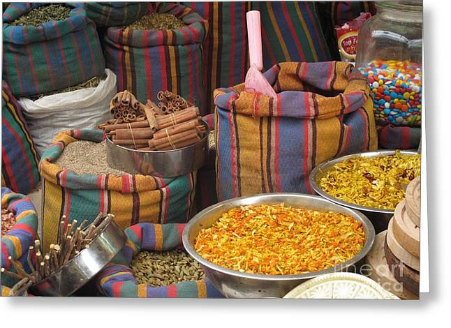 Greeting Card featuring the photograph Acco Acre Israel Shuk Market Spices Stripes Bags by Paul Fearn