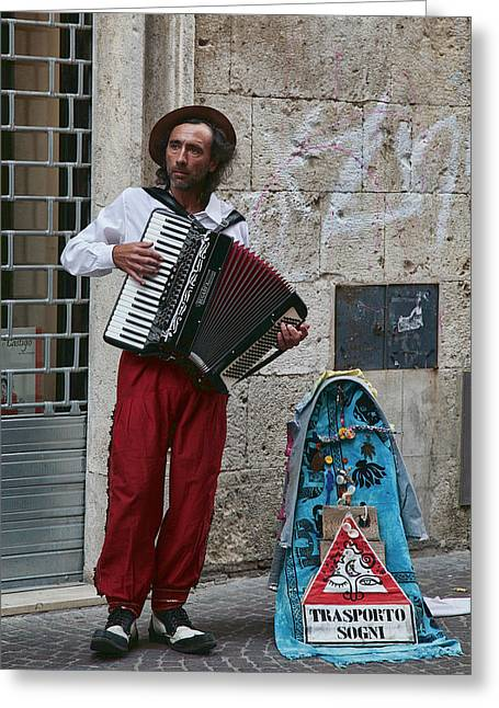 Accordian Player Greeting Card