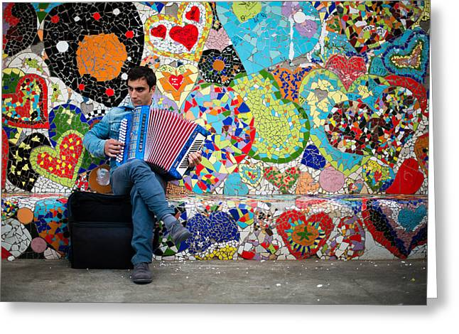 Accordion Player Greeting Card by Pedro Nunez