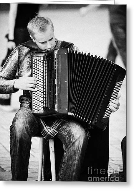 Accordion Player Playing Street Musician In Rynek Glowny Town Square Krakow Greeting Card