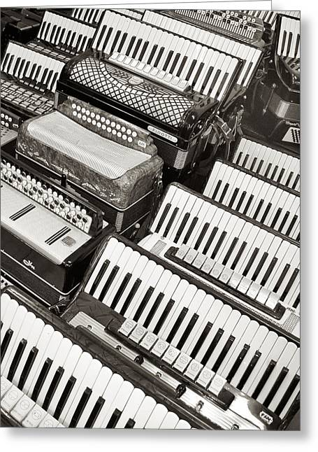 Greeting Card featuring the photograph Accordions by Mary Lee Dereske