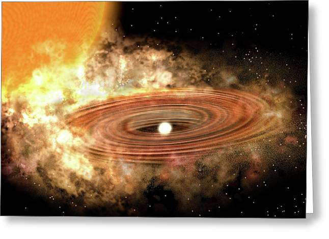 Accretion Disk Around Binary Star System Greeting Card by P. Marenfeld And Noao/aura/nsf