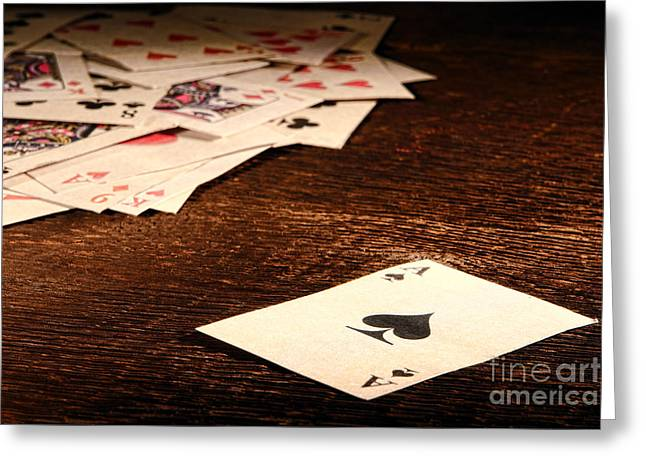 Ace Of Spade Greeting Card by Olivier Le Queinec