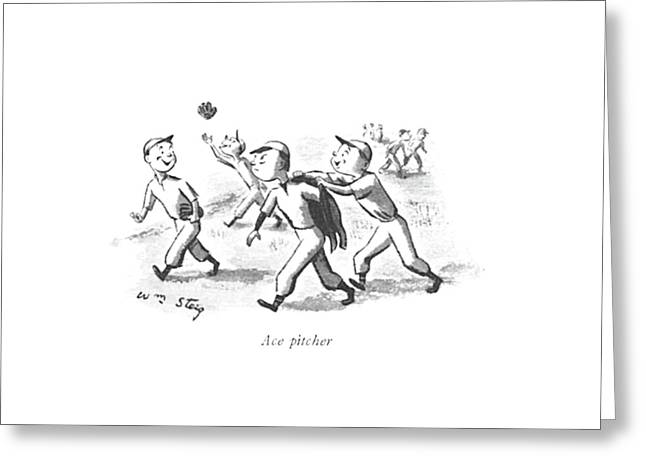 Ace Pitcher Greeting Card by William Steig
