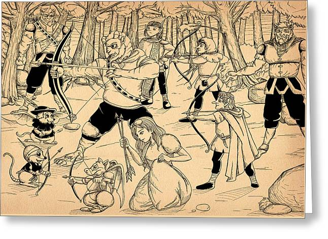 Greeting Card featuring the painting Archery In Oxboar by Reynold Jay