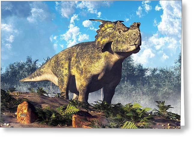Achelousaurus Greeting Card by Daniel Eskridge