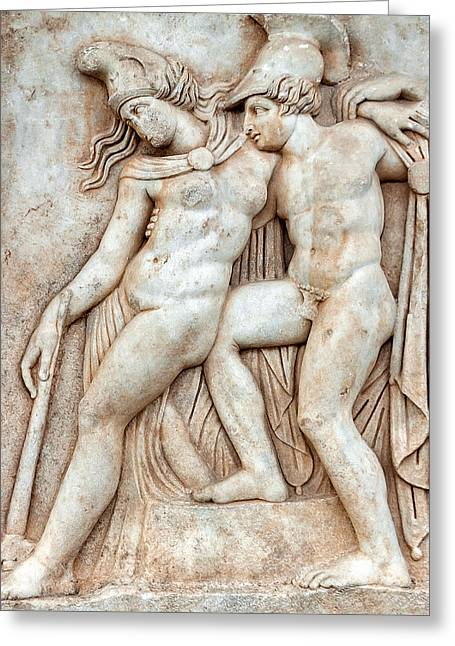 Achilles And Penthesilea Greeting Card by Ayhan Altun