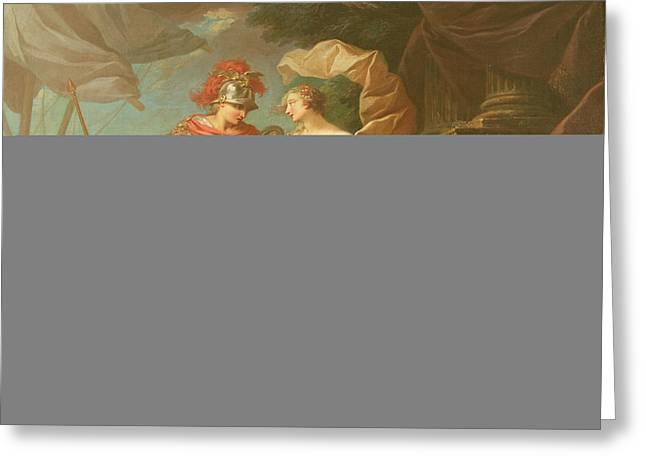 Achilles Leaving To Avenge The Death Of Patroclus Oil On Canvas Greeting Card