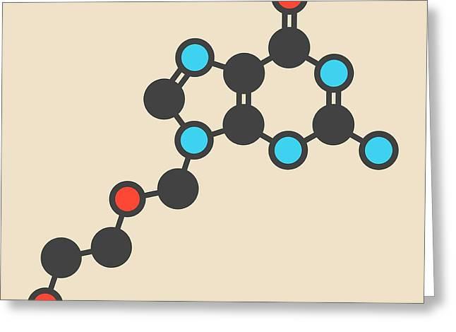 Aciclovir Antiviral Drug Molecule Greeting Card by Molekuul
