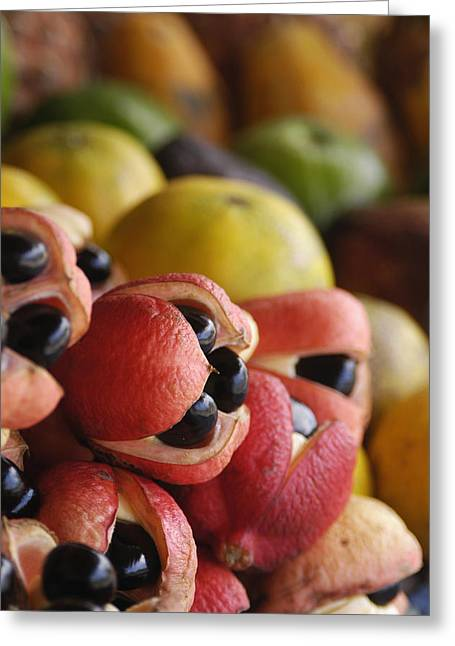 Ackees And Other Fruits For Sale On Greeting Card
