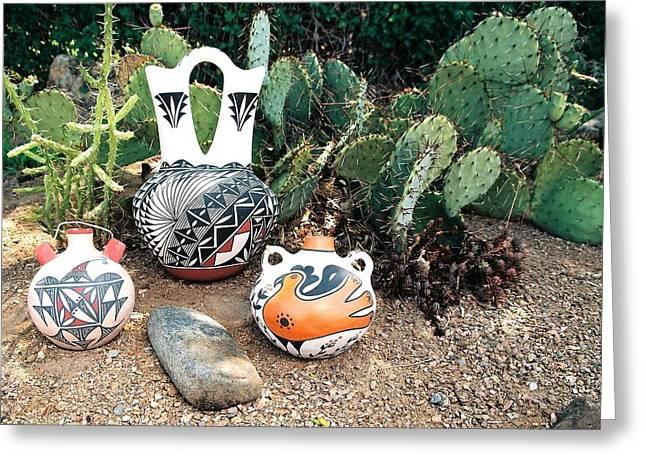 Acoma Pottery  Greeting Card by Dan Vallo