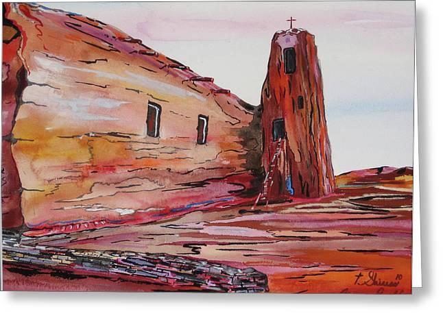 Acoma Pueblo Church Greeting Card by Tom Shinas