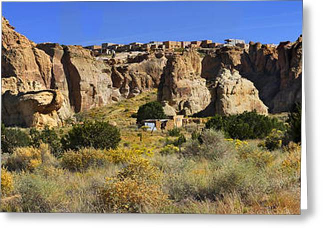 Acoma Pueblo Sky City Panoramic Greeting Card by Mike McGlothlen