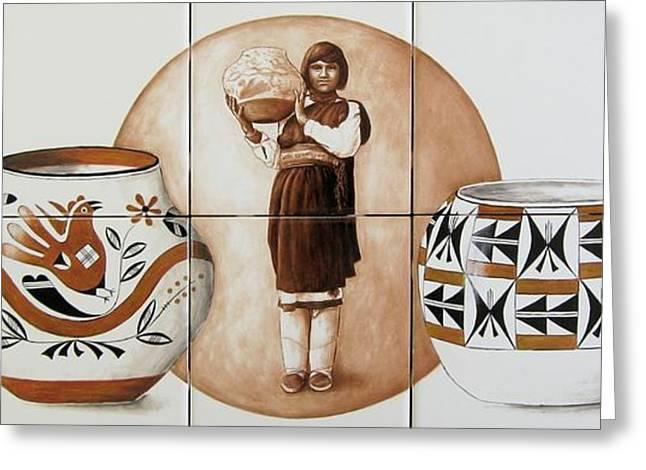 Acoma Woman Pueblo Pottery Greeting Card