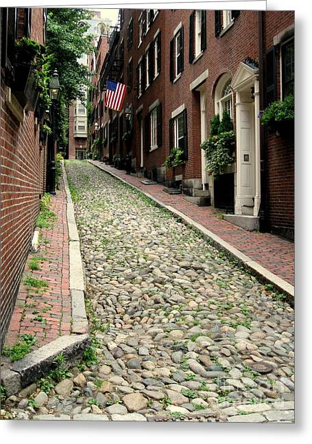 Acorn Street Boston Greeting Card by Kenny Glotfelty