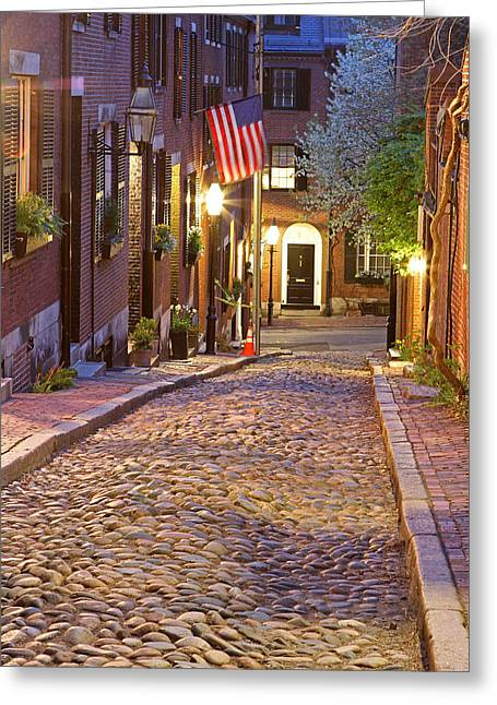 Acorn Street Of Beacon Hill Greeting Card by Juergen Roth