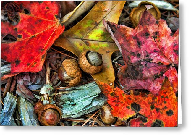 Acorns And Leaves Greeting Card by Kenny Francis