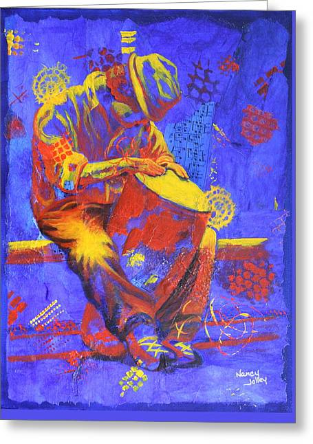 Greeting Card featuring the painting Acoustic Blues by Nancy Jolley