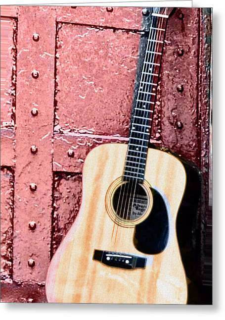 Acoustic Guitar And Red Door Greeting Card by Bill Cannon