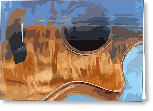 Acoustic Guitar Blue Background 2 Greeting Card