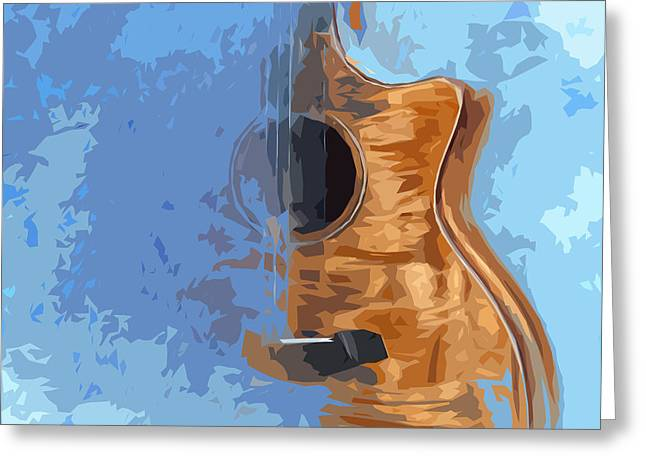 Acoustic Guitar Blue Background 5 Greeting Card