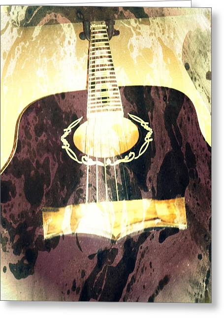 Acoustic Guitar - In The Studio Greeting Card by Brian Howard