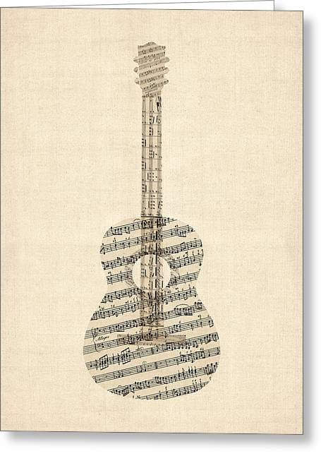 Acoustic Guitar Old Sheet Music Greeting Card by Michael Tompsett