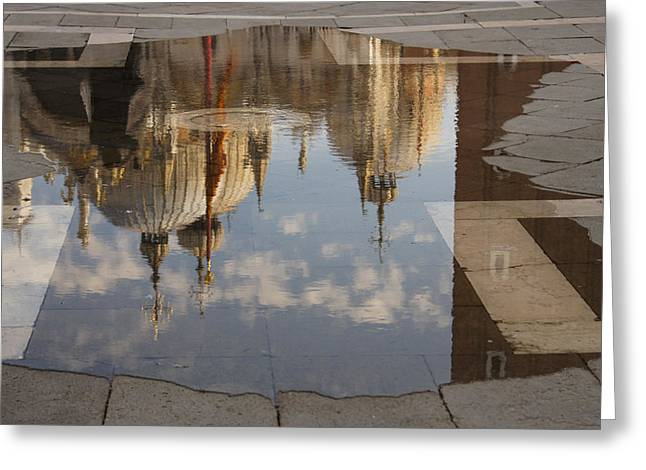 Acqua Alta Or High Water Reflects St Mark's Cathedral In Venice Greeting Card by Georgia Mizuleva