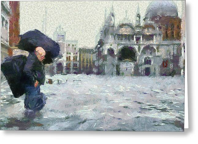Acqua Alta Venice Greeting Card by Clai