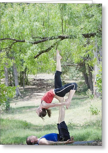 Acro Yoga Greeting Card by Mesha Zelkovich