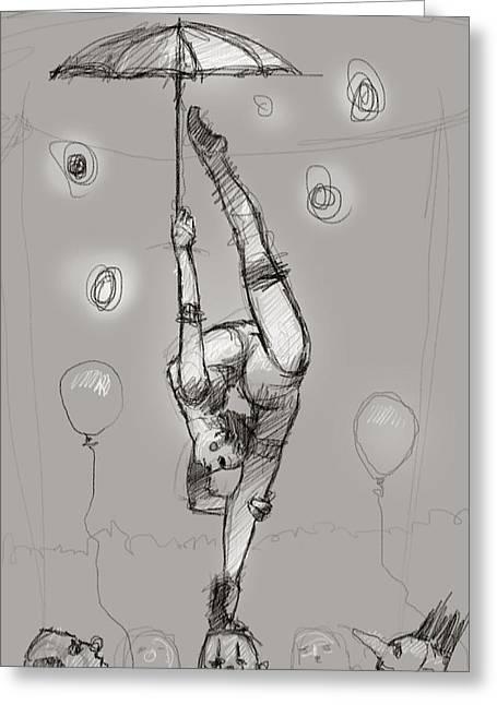 Acrobat On Clowns Greeting Card by H James Hoff