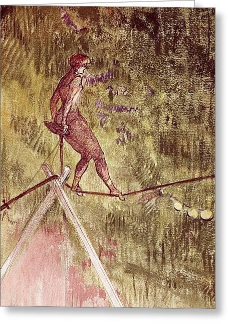 Acrobat On Tightrope Greeting Card by Henri de Toulouse Lautrec
