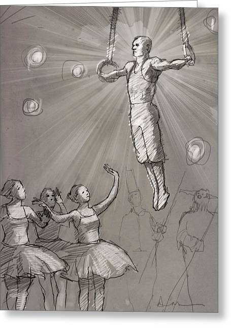 Acrobat With Ballerinas Greeting Card
