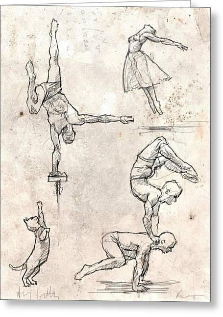 Acrobats And Dancer With Cat Greeting Card by H James Hoff