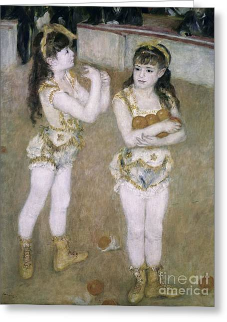 Acrobats At The Cirque Fernand Greeting Card by Pierre Auguste Renoir