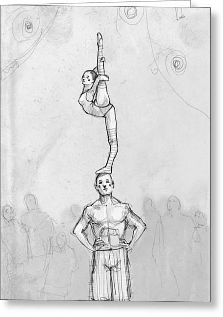 Acrobats Greeting Card by H James Hoff