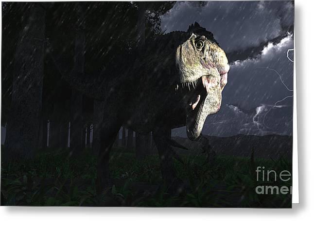 Acrocanthosaurus Dinosaur On A Stormy Greeting Card
